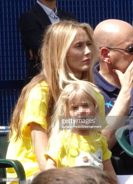 Vanesa Lorenzo and her daughter Manuela Puyol attend the opening of the Cruyff Court Gerard Pique on May 24 2017 in Sant Guim de Freixenet Spain