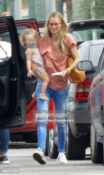 Vanesa Lorenzo arrives on the island of Ibiza with their daughter Maria Puyol on August 2 2017 in Ibiza Spain