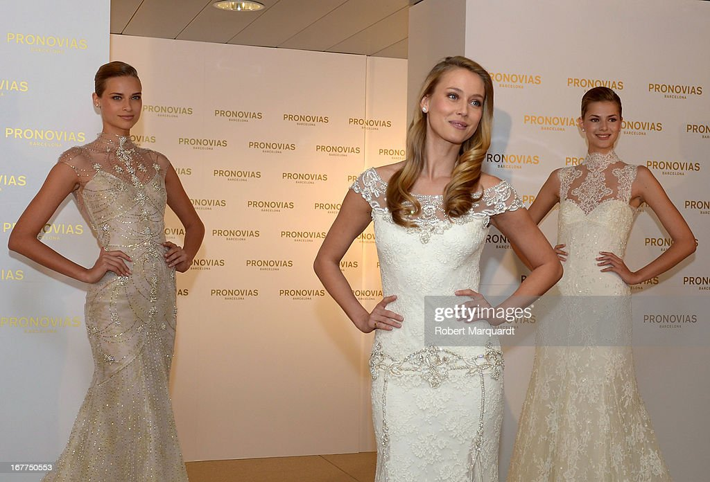 Vanesa Lorenzo (C) presents the new bridal collection by Atelier Pronovias at the Pronovias showroom on April 29, 2013 in Barcelona, Spain.