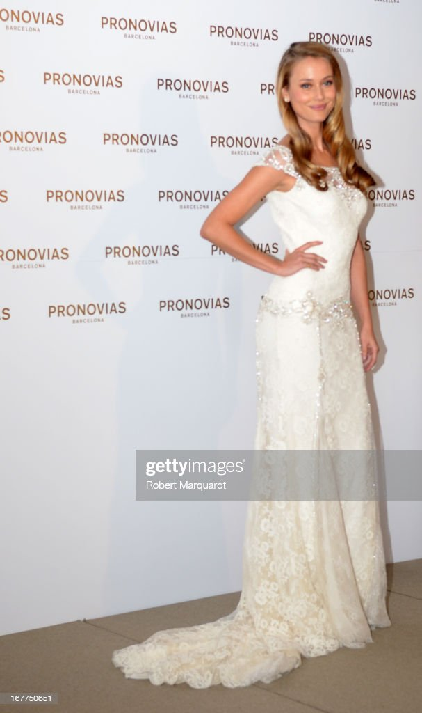 Vanesa Lorenzo presents the new bridal collection by Atelier Pronovias at the Pronovias showroom on April 29, 2013 in Barcelona, Spain.
