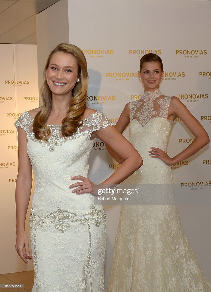 Vanesa Lorenzo (L) presents the new bridal collection by Atelier Pronovias at the Pronovias showroom on April 29, 2013 in Barcelona, Spain.