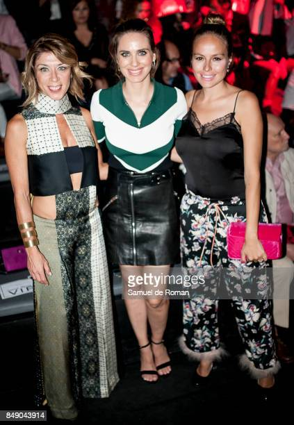 Vanesa Romero Eva Isanta and Esmeralda Moya are seen at Hannibal Laguna front row during MercedesBenz Fashion Week Madrid Spring/Summer 2018 on...