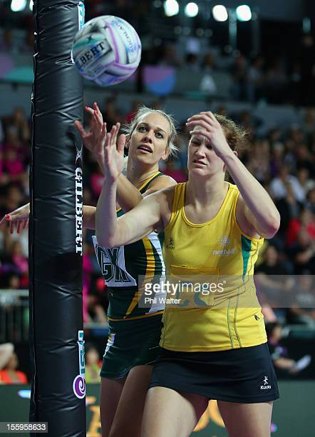 VanesMari du Toit of South Africa and Karyn Howarth of Australia contest the ball in the match between Australia and South Africa during day two of...
