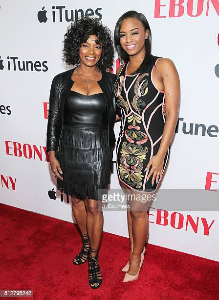 Vanessa Bell Calloway and Ashley Calloway attend the Ebony Magazine And Apple Celebrate Black Hollywood party at NeueHouse Hollywood on February 27...