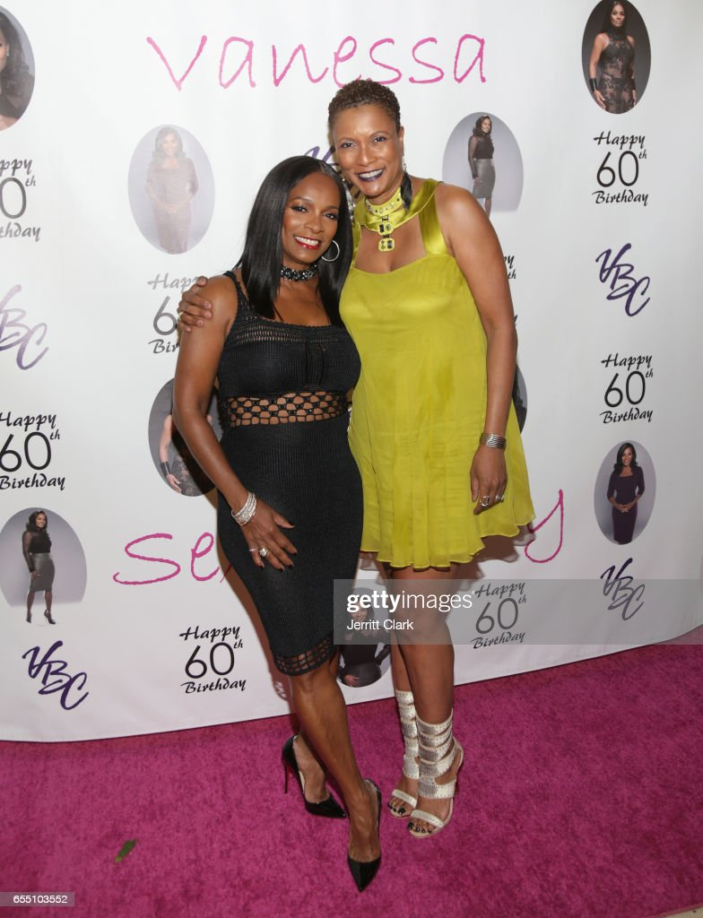 Vanessa Bell Calloway and Producer Rachel Frazier Johnson, ESQ attend Vanessa Bell Calloway's 60th Birthday Bash at Cicada on March 18, 2017 in Los Angeles, California.