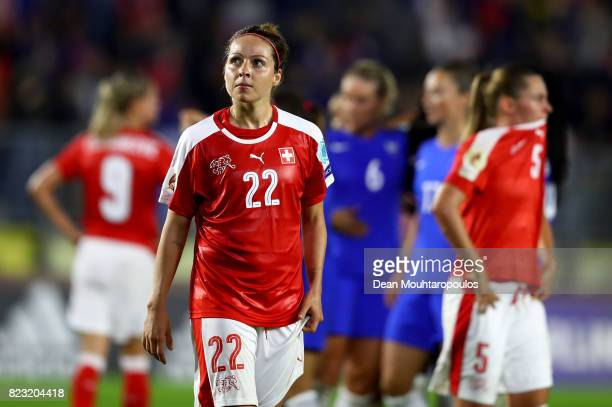 Vanessa Bernauer of Switzerland looks dejected after the Group C match between Switzerland and France during the UEFA Women's Euro 2017 at Rat...