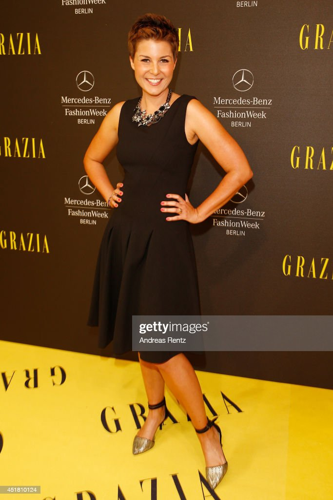 Vanessa Blumhagen arrives for the Opening Night by Grazia fashion show during the Mercedes-Benz Fashion Week Spring/Summer 2015 at Erika Hess Eisstadion on July 7, 2014 in Berlin, Germany.
