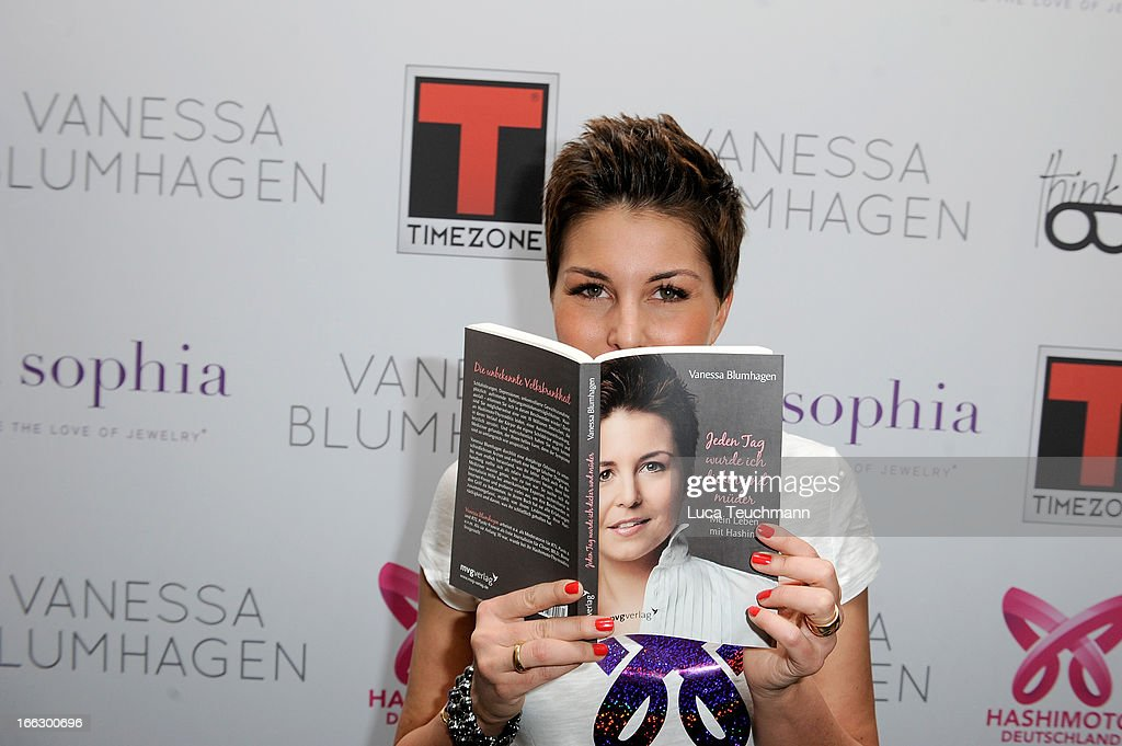 Vanessa Blumhagen presents her new book 'Mein Leben mit Hashimoto' at the KAIORIZE Showroom on April 11, 2013 in Berlin, Germany