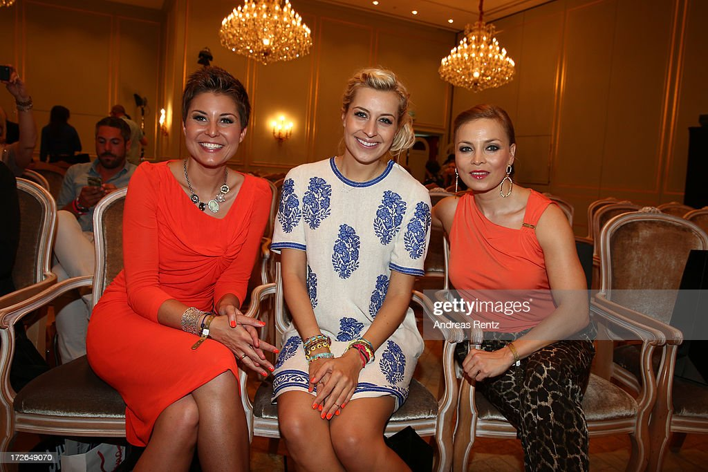 Vanessa Blumhagen, Verena Kerth and Regina Halmich attend the Sava Nald Show during the Mercedes-Benz Fashion Week Spring/Summer 2014 at Hotel Adlon on July 4, 2013 in Berlin, Germany.