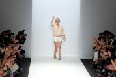 Vanessa Bruno acknowledges the audience during the Vanessa Bruno show as part of Paris Fashion Week Womenswear Spring/Summer 2014 on September 27...