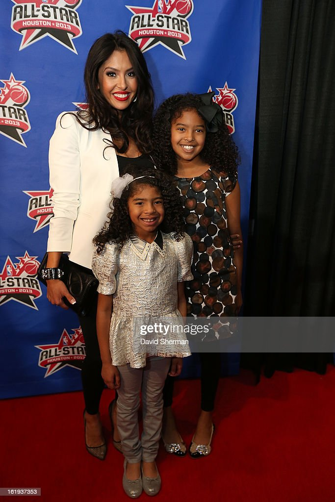 Vanessa Bryant and her daughters pose on the All-Star Red Carpet prior to the 2013 NBA All-Star Game presented by Kia Motors on February 17, 2013 at the Toyota Center in Houston, Texas.