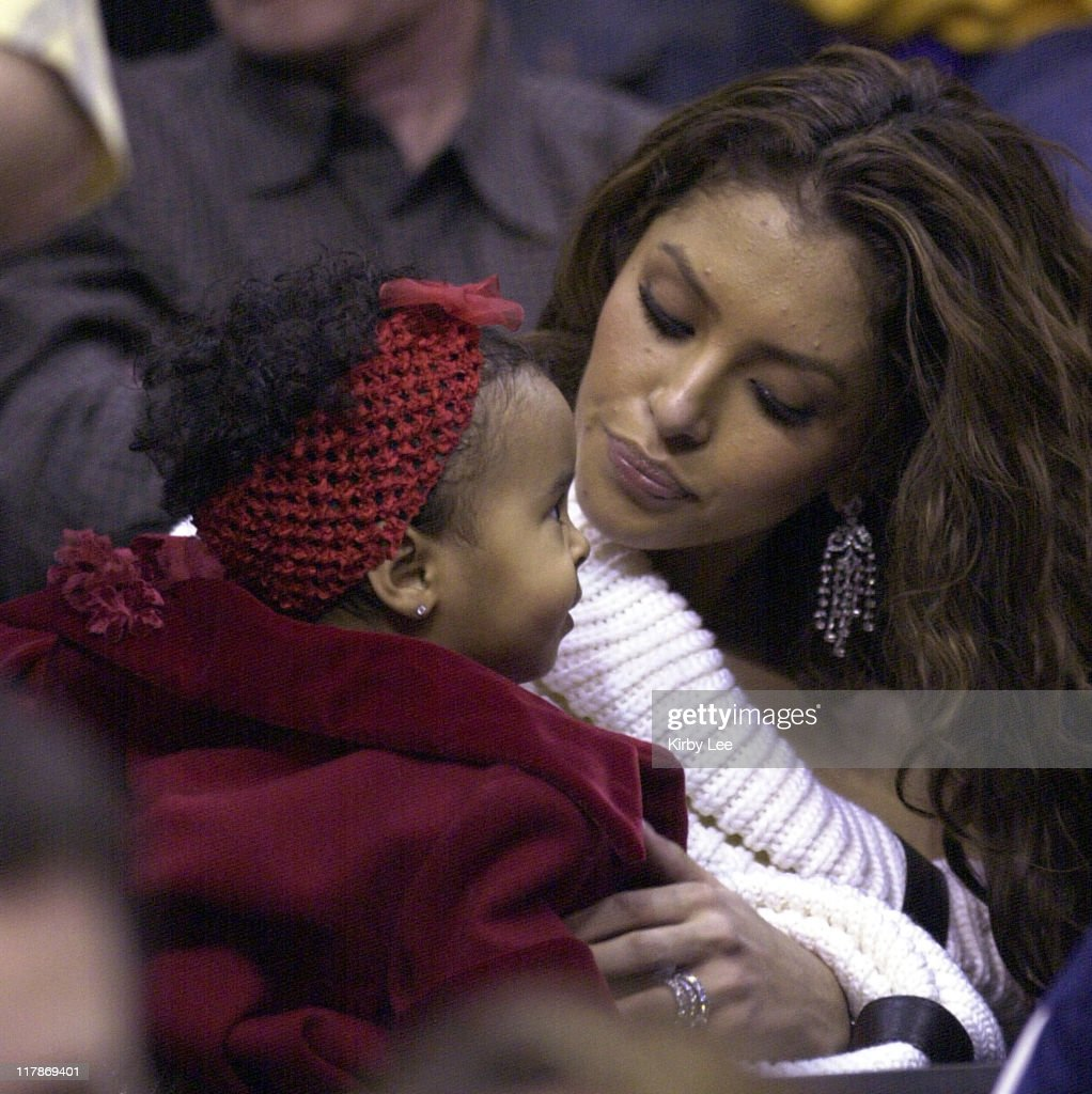 Vanessa Bryant wife of Kobe Bryant and daughter Natalia Diamante at Los Angeles Lakers game against the Houston Rockets at the Staples Center