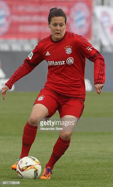 Vanessa Buerki of Bayern Muenchen kicks the ball during the women Bundesliga match between FC Bayern Muenchen and 1899 Hoffenheim at Stadion an der...