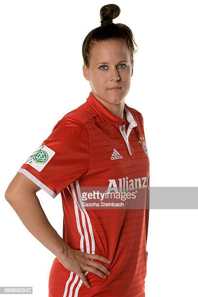 Vanessa Buerki of FC Bayern Muenchen poses during the Allianz Women's Bundesliga Club Tour on September 4 2016 in Aschheim Germany