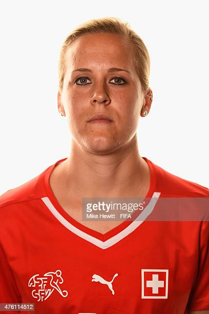 Vanessa Buerki of Switzerland poses for a portrait during the official Switzerland portrait session ahead of the FIFA Women's World Cup 2015 at the...