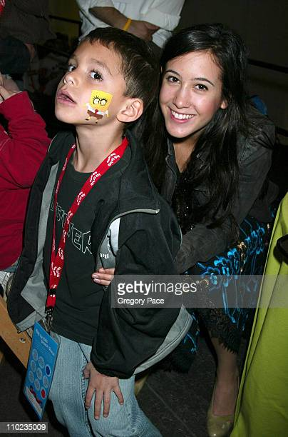 Vanessa Carlton and little boy Ryan Candel who she face painted SpongeBob SquarePants