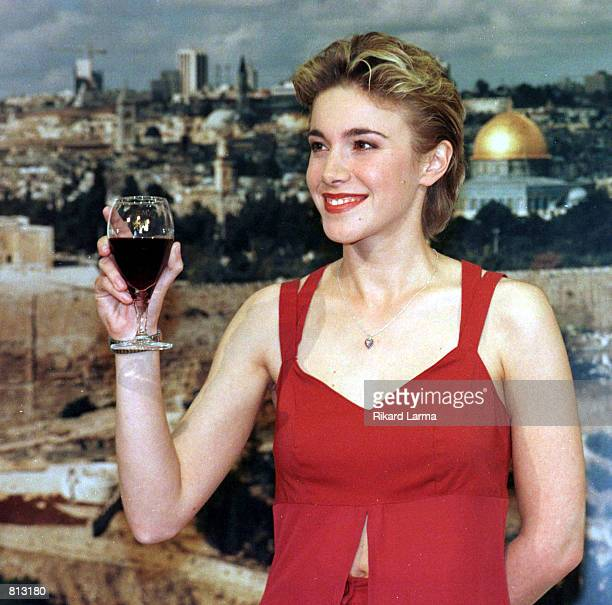 Vanessa Chinitor singer representing Belgium for the Eurovision Song Contest 1999 poses for photographers at a press conference in Jerusalem Monday...
