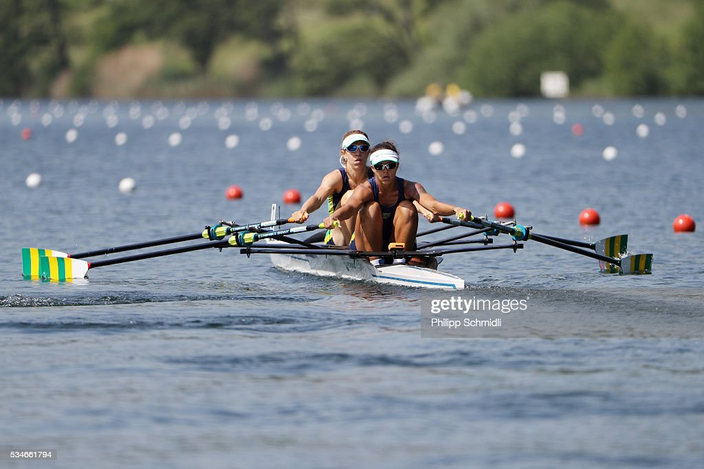 Vanessa Cozzi (L) and Fernanda Ferreira of Brazil compete in the Lightweight Women's Double Sculls heats during day 1 of the 2016 World Rowing Cup II at Rotsee on May 27, 2016 in Lucerne, Switzerland.