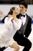 Vanessa Crone and Paul Poirier of Canada compete in the Ice Dance Short Dance during Skate America at Rose Garden Arena on November 13 2010 in...