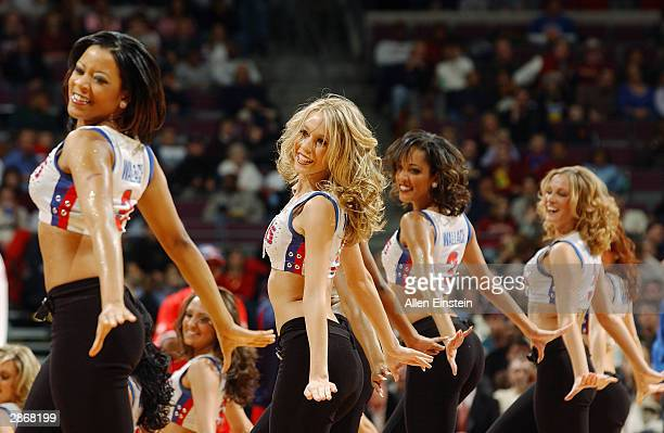 Vanessa dances with the Detroit Pistons Automotion Dance Team during an intermission in the game against the Houston Rockets at the Palace of Auburn...