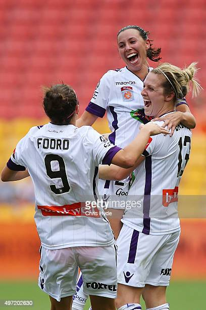 Vanessa Di Bernardo of the Glory celebrates after scoring a goal during the round five WLeague match between Brisbane Roar and Perth Glory at Suncorp...