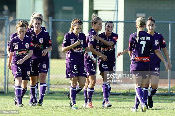 Vanessa Di Bernardo of the Glory celebrates after scoring a goal during the round 13 WLeague match between Perth Glory and Adelaide United at...