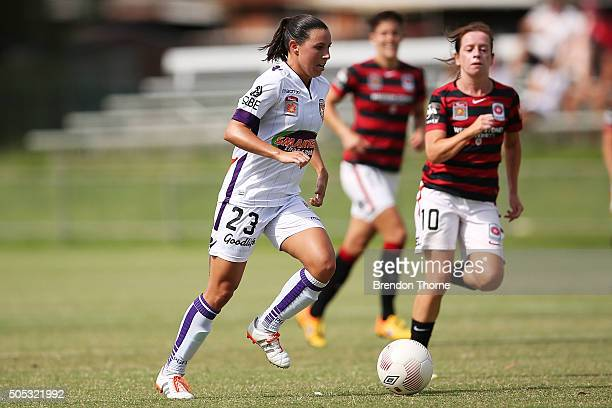 Vanessa Di Bernardo of the Glory controls the ball during the round 14 WLeague match between the Western Sydney Wanderers and the Perth Glory at...
