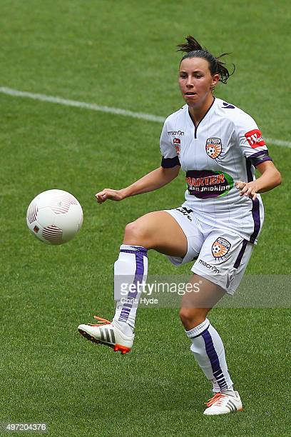 Vanessa Di Bernardo of the Glory kicks during the round five WLeague match between Brisbane Roar and Perth Glory at Suncorp Stadium on November 15...