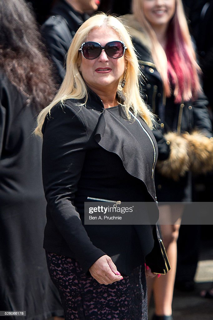 Vanessa Feltz attends the funeral of entertainer producer and reality television star David Gest at Golders Green Crematorium on April 29 2016 in...