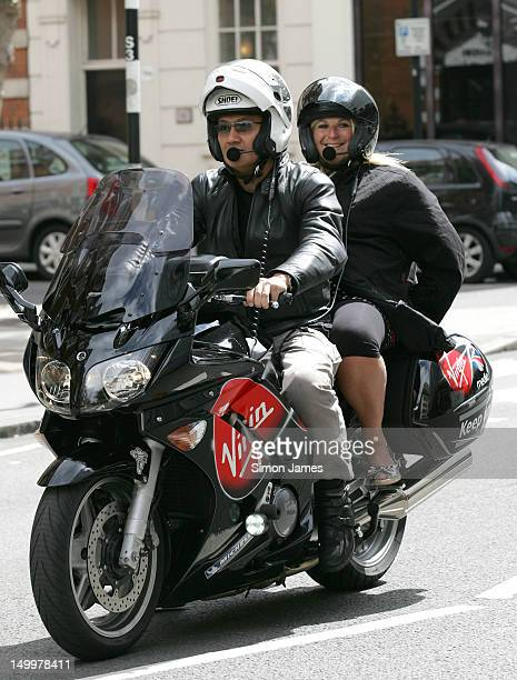 Vanessa Feltz sighted arriving at BBC radio two on a Virgin motorcycle on August 8 2012 in London England
