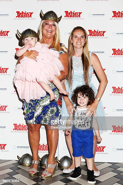 Vanessa Feltz with daughter Allegra Kurer and grandchildren Zeke and Neroli attends the gala screening of 'Asterix The Mansions of the Gods' at...