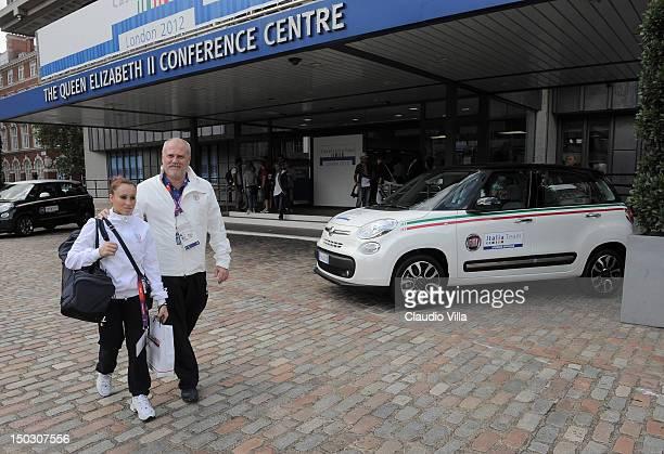 Vanessa Ferrari and Fulvio Vailati of Italy Artistic Gymnastic team visits Casa Italia during the London 2012 Olympic Games at The Queen Elizabeth II...