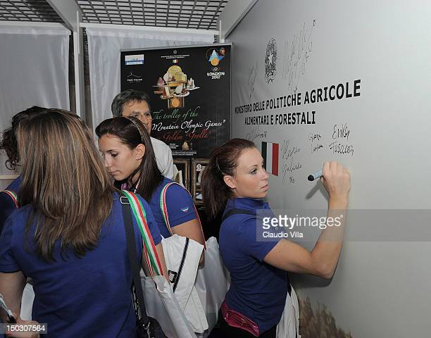 Vanessa Ferrari of Italy's Artistic Gymnastic team visits Casa Italia during the London 2012 Olympic Games at The Queen Elizabeth II Conference...