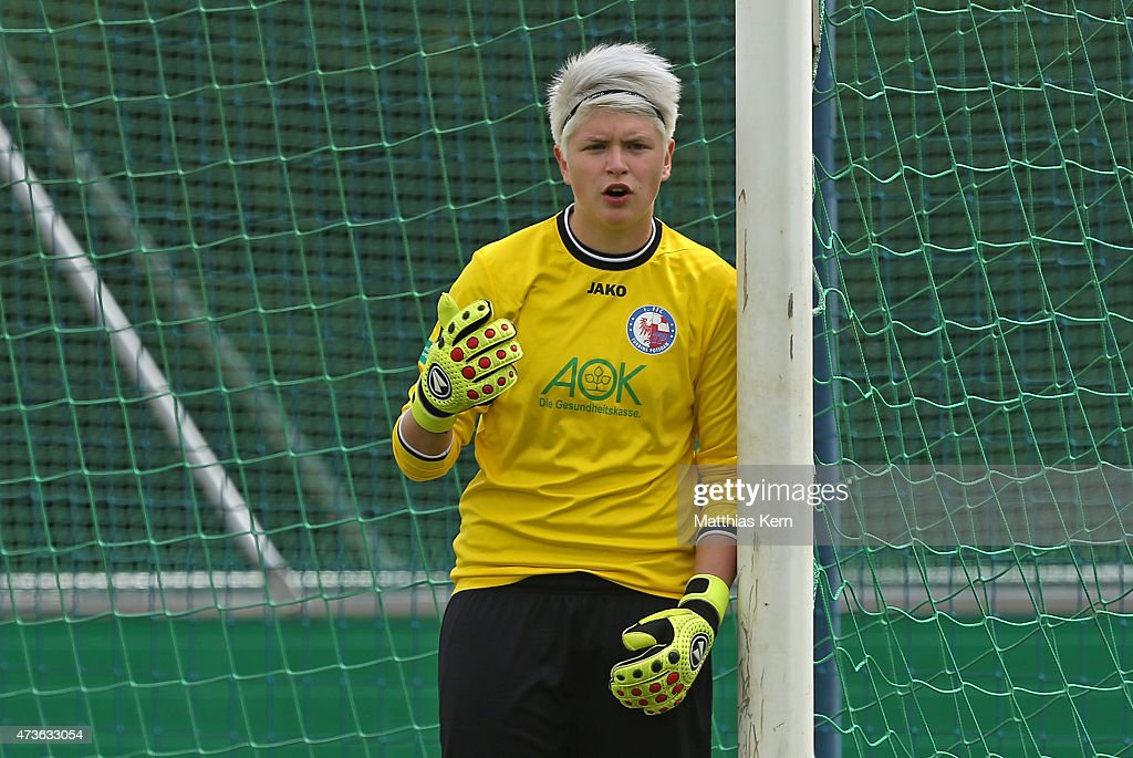 Vanessa Fischer of Potsdam looks on during the U17 Girl's Bundesliga semi final first leg match between Turbine Potsdam and FSV Guetersloh 2009 at...