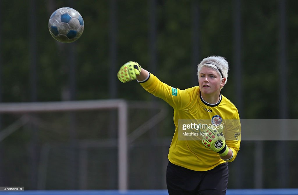 Vanessa Fischer of Potsdam throws the ball during the U17 Girl's Bundesliga semi final first leg match between Turbine Potsdam and FSV Guetersloh...