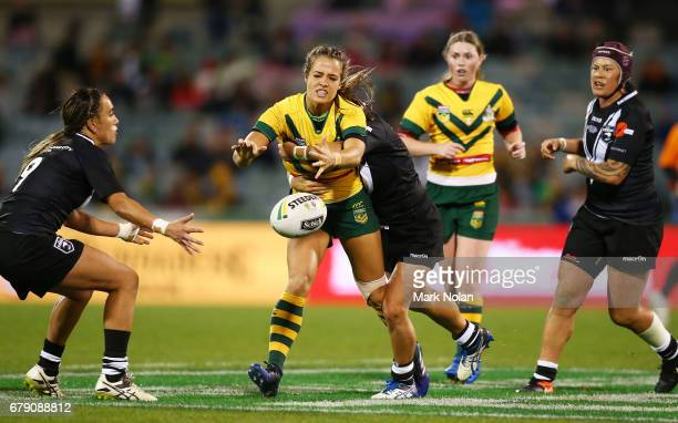 Vanessa Foliaki of Australia loses the ball during the women's ANZAC Test match between the Australian Jillaroos and the New Zealand Kiwi Ferns at...