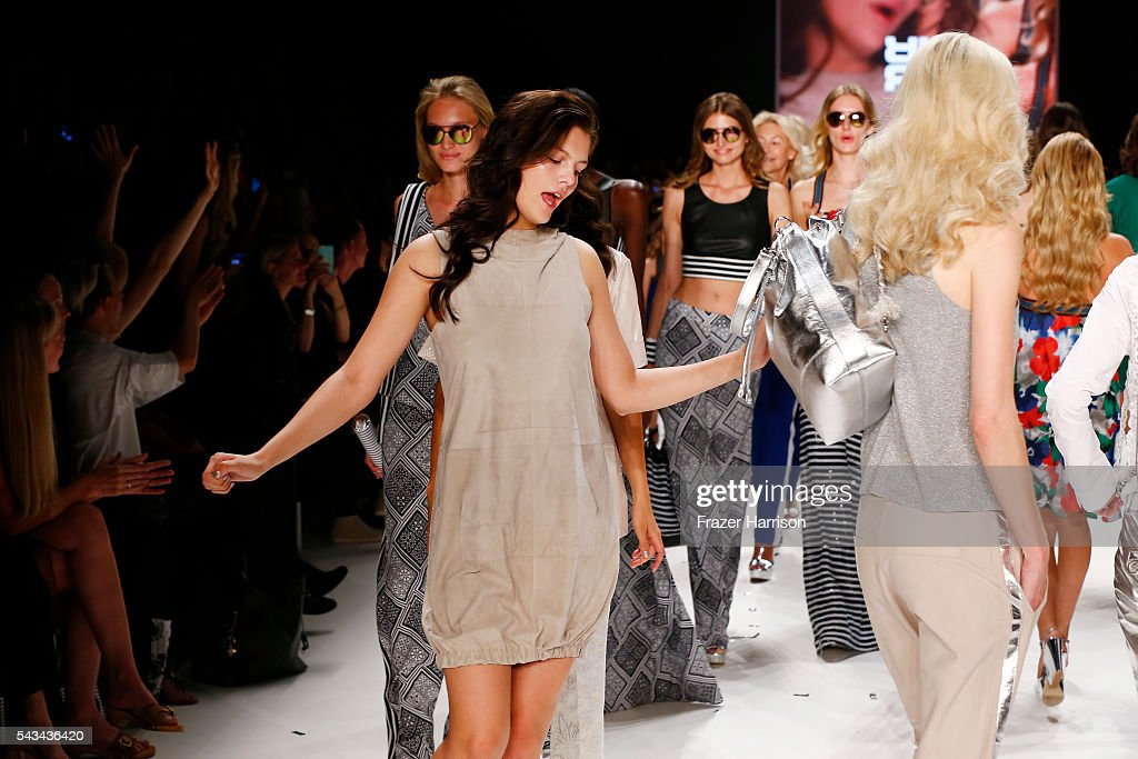 Vanessa Fuchs walks the runway at the Riani show during the Mercedes-Benz Fashion Week Berlin Spring/Summer 2017 at Erika Hess Eisstadion on June 28, 2016 in Berlin, Germany.