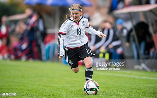 Vanessa Fudalla of Germany with the ball during the international friendly match between U15 Girl's Germany and U15 Girl's Scotland at Stadtion am...