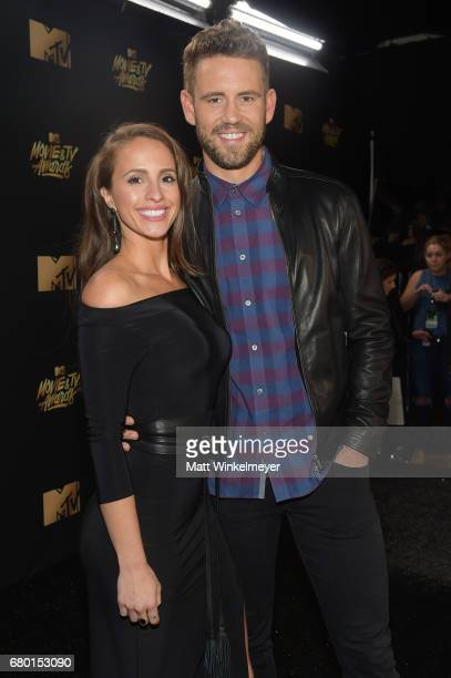 Vanessa Grimaldi and Nick Viall attend the 2017 MTV Movie And TV Awards at The Shrine Auditorium on May 7 2017 in Los Angeles California
