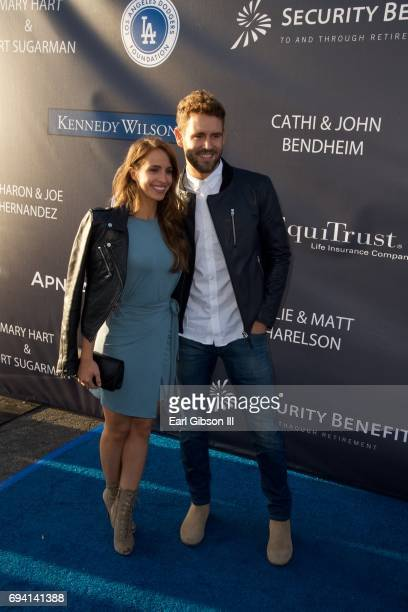 Vanessa Grimaldi and Nick Viall attends the Los Angeles Dodgers Foundation's 3rd Annual Blue Diamond Gala at Dodger Stadium on June 8 2017 in Los...
