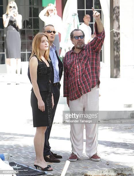 Vanessa Grout Vladislav Doronin and Julian Schnabel are seen at the installation of Julian Schnabel's monumental sculpture 'AHAB' at Miami's Brickell...