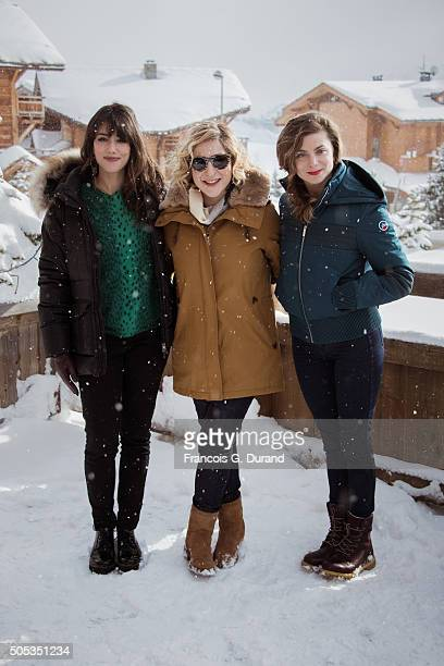 Vanessa Guide Marilou Berry and Sarah Suco pose at a photocall during the 18th L'Alpe D'Huez International Comedy Film Festival on January 16 2016 in...