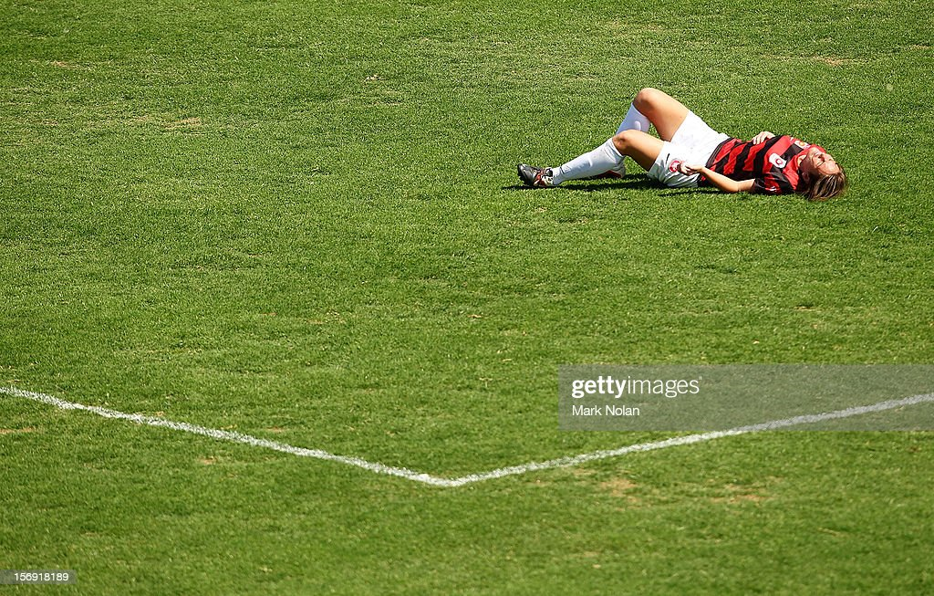 Vanessa Hart of the Wanderers lies injured during the round six W-League match between the Western Sydney Wanderers and the Newcastle Jets at Campbelltown Sports Stadium on November 25, 2012 in Sydney, Australia.