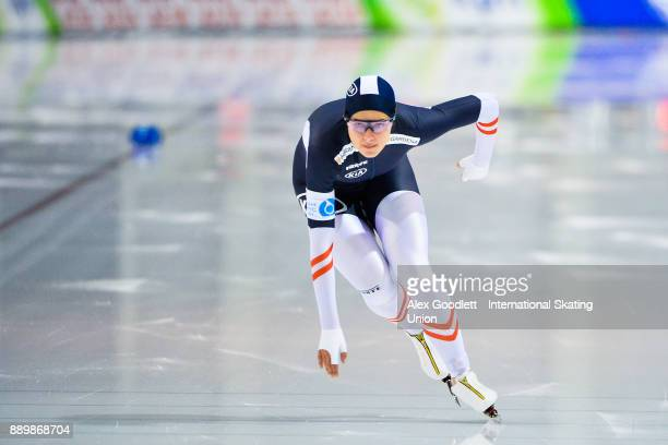 Vanessa Herzog of Austria competes in the ladies 1000 meter final during day 3 of the ISU World Cup Speed Skating event on December 10 2017 in Salt...
