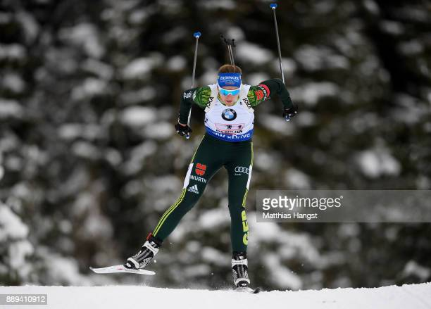 Vanessa Hinz of Germany competes during the Women's 4x 6km relay competition of the BMW IBU World Cup Biathlon on December 10 2017 in Hochfilzen...
