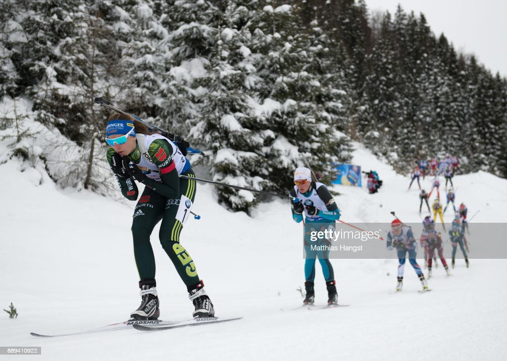Vanessa Hinz of Germany leads the field during the Women's 4x 6km relay competition of the BMW IBU World Cup Biathlon on December 10, 2017 in Hochfilzen, Austria.