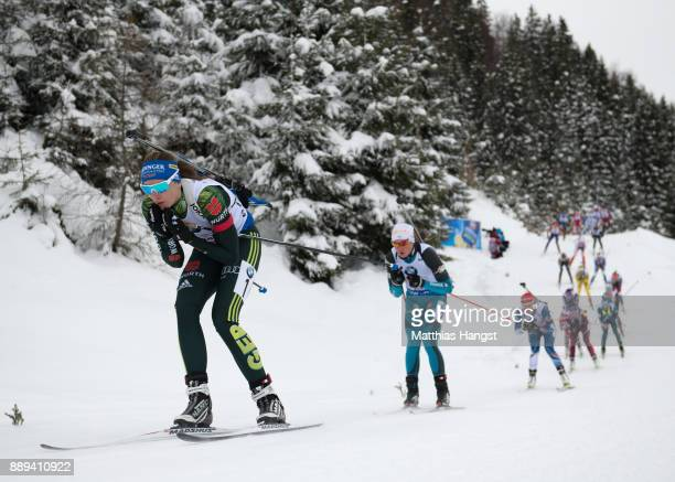 Vanessa Hinz of Germany leads the field during the Women's 4x 6km relay competition of the BMW IBU World Cup Biathlon on December 10 2017 in...