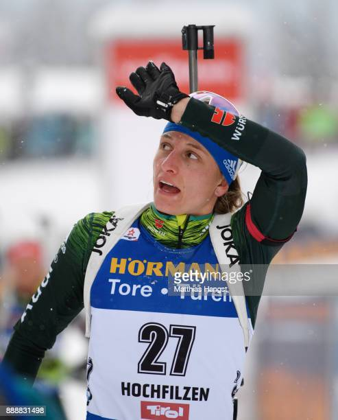 Vanessa Hinz of Germany reacts after the 10 km Women's Pursuit during the BMW IBU World Cup Biathlon on December 0 2017 in Hochfilzen Austria