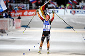 Vanessa Hinz of Germany takes 1st place during the IBU Biathlon World Championships Women's Relay on March 13 2015 in Kontiolahti Finland