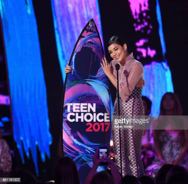 Vanessa Hudgens accepts the #SeeHer Award onstage during the Teen Choice Awards 2017 at Galen Center on August 13 2017 in Los Angeles California
